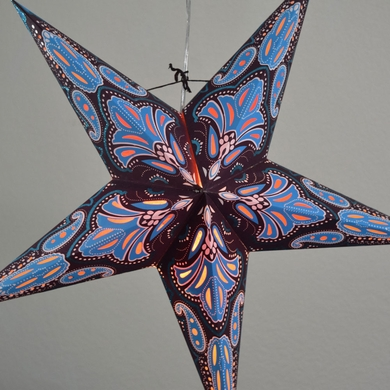 "24"" Blue / Black Flemenco Glitter Paper Star Lantern, Hanging Decoration"