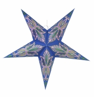 "24"" Blue / Pink Lotus Green Glitter Paper Star Lantern, Hanging Decoration"