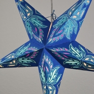 "24"" Blue / Turquoise Lotus Glitter Paper Star Lantern, Hanging (Light Not Included)"