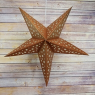 "24"" Copper-Brown Cut-Out Paper Star Lantern, Hanging Decoration"