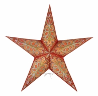 "24"" Merry Gold Red Flocked Glitter Paper Star Lantern, Hanging Decoration"