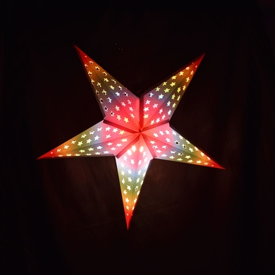 "24"" Glossy White Star w/ Inner Rainbow Cut-Out Paper Star Lantern, Hanging Decoration"