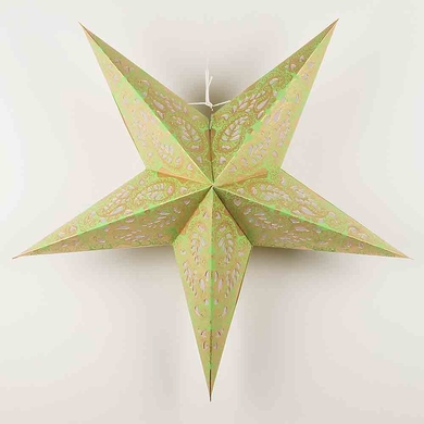 "24"" Gold and Lime Green Paisley Paper Star Lantern, Hanging Decoration"