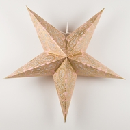 "24"" Gold and Pink Paisley Paper Star Lantern, Hanging Decoration"