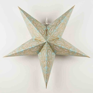 "24"" Gold and Turquoise Paisley Paper Star Lantern, Hanging Decoration"