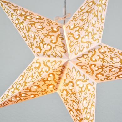 "24"" Gold Bramble Glitter Paper Star Lantern, Hanging Decoration"