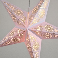 "24"" Golden Daisy White Paper Star Lantern, Hanging (Light Not Included)"