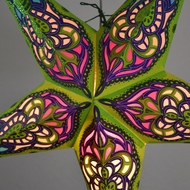 "24"" Green / Purple Meditation Glitter Paper Star Lantern, Hanging Decoration"