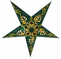 "24"" Green Trance Paper Star Lantern, Hanging Decoration"