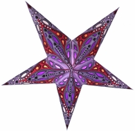 "24"" Lavender Exotic Dahlia Paper Star Lantern, Hanging (Light Not Included)"