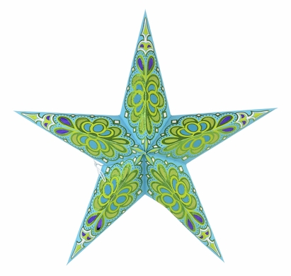 "24"" Merry Gold Light Turquoise Glitter Paper Star Lantern, Hanging Decoration"