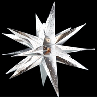 "24"" Moravian Glossy Silver Multi-Point Paper Star Lantern Lamp, Hanging Decoration"