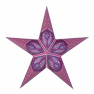 "24"" Pink Jaipur Paper Star Lantern, Hanging Decoration"