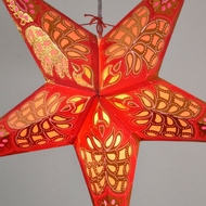 "24"" Red / Gold Monarch Glitter Paper Star Lantern, Hanging (Light Not Included)"