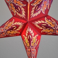 "24"" Red / Vanilla Cream Lotus Glitter Paper Star Lantern, Hanging (Light Not Included)"