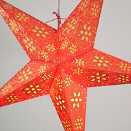 "24"" Red Winds Gold Glitter Paper Star Lantern, Hanging Decoration"