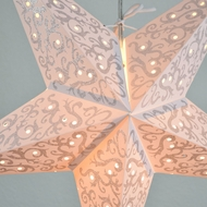 "24"" Silver Bramble Glitter Paper Star Lantern, Hanging (Light Not Included)"