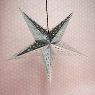 "24"" Silver Foil Cut-Out Paper Star Lantern, Hanging (Light Not Included)"