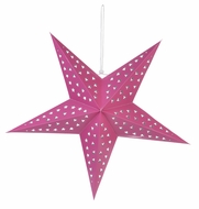 "24"" Solid Fuchsia Cut-Out Paper Star Lantern, Hanging Decoration"