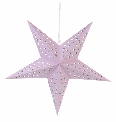 """24"""" Solid Pink Cut-Out Paper Star Lantern, Hanging Decoration"""