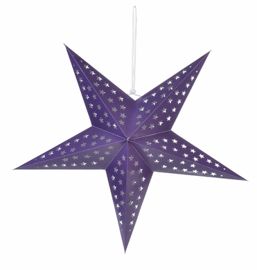 "24"" Solid Purple Cut-Out Paper Star Lantern, Hanging Decoration"