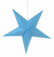 "24"" Solid Turquoise Cut-Out Paper Star Lantern, Hanging Decoration"