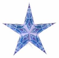 "24"" Lavender / Sky Blue Lotus Glitter Paper Star Lantern, Hanging Decoration"