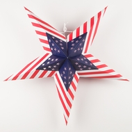 "24"" USA Flag Red, White, Blue Paper Star Lantern, Hanging Decoration"