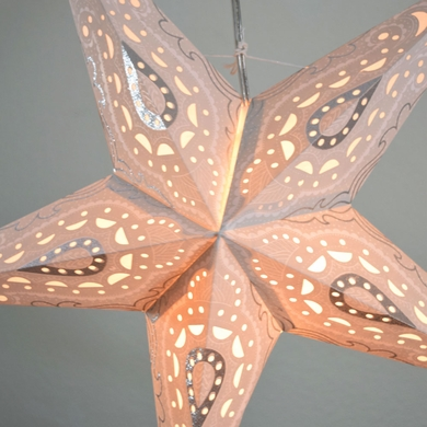"24"" White / Grey Shikhara Glitter Paper Star Lantern, Hanging Decoration"