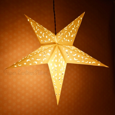 White Star Moon Cut Out Paper Lantern Hanging Light Not Included On Now Lanterns At Bulk Whole Best Prices