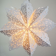 "24"" White Winter Frost Snowflake Paper Star Lantern, Hanging Decoration"
