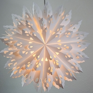 "24"" White Winter Wreath Snowflake Paper Star Lantern, Hanging Decoration"