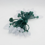 25 Outdoor White LED C9 Strawberry String Lights, 16.6FT Green Cord, Weatherproof, Expandabl