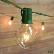 25 Socket Outdoor Patio String Light Set, G40 Clear Globe Bulbs, 28 FT Green Cord w/ E12 C7 Base