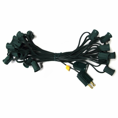 25 Socket Outdoor Patio String Light Cord Only, 28 FT Black Cord w/ E12 Base (No Bulbs) On Sale ...