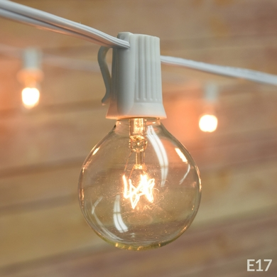 25 Socket Outdoor Patio String Light Set, G50 Clear Globe Bulbs, 28 FT White Cord w/ E17 Base (Discontinued)