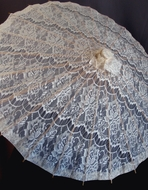 "28"" Beige / Ivory Lace Cotton Fabric Bamboo Parasol Umbrella"