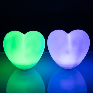 "3"" Mini Heart Color Changing Waterproof LED Rainbow Light Orb, Floating (Battery Operated, Remote Control, 2-PACK)"