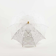 "30"" White Lace Cotton Fabric Parasol Umbrella w/ Metal Frame"