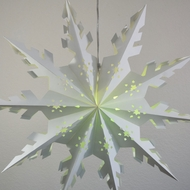 "24"" White Winter Peppermint Snowflake Paper Star Lantern, Hanging Decoration"