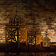 "32"" Black Moroccan Candle Lantern Tea Light Holder"