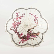 "32"" Cherry Blossom / Sakura w/ Black Ring Paper Parasol Umbrella, Scallop Shaped"