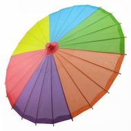 "32"" Rainbow Multi-Color Paper Parasol Umbrella"