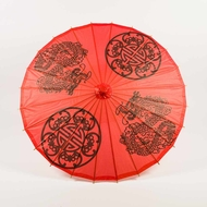 "32"" Red Double Happiness Paper Parasol Umbrella"