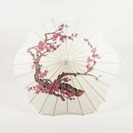 "32"" Cherry Blossom / Sakura Paper Parasol Umbrella, Scallop Shaped"