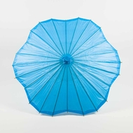 "32"" Turquoise Paper Parasol Umbrella, Scallop Shaped"