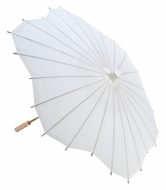 "32"" White Paper Parasol Umbrella, Scallop Shaped"