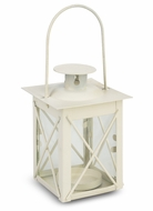"4.5"" Beige Square Hurricane Candle Lantern Tea Light Holder"