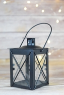 "4.5"" Black Square Hurricane Candle Lantern Tea Light Holder"