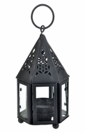 "BLOWOUT 4.75"" Black Hampi Hurricane Candle Lantern"